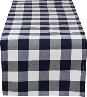 Fennco Styles Buffalo Plaid Collection Classic Checked Cotton Blend Table Runner 4 Colors - Navy Blue 16 x72 Inch Table Runner for Banquets, Christmas, Special Events and Home Décor