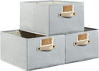 Decorative Storaeg Baskets for Closet, Large Fabric Organizing Bins for Shelves, Foldable Storage Bins Cubes Organizer, St...