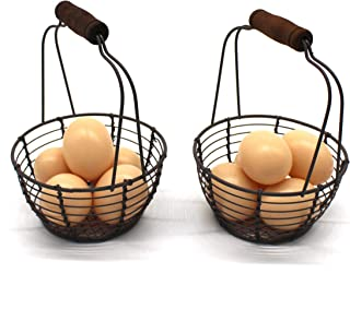 CVHOMEDECO. Metal Wire Mini Egg Baskets Rust Gathering Baskets with Wooden Handle Country Vintage Style Storage Baskets. Set of 2