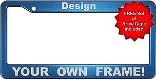 Custom Anodized Aluminum CAR License Plate Frame & FREE caps - Blue - NEW Special Edition