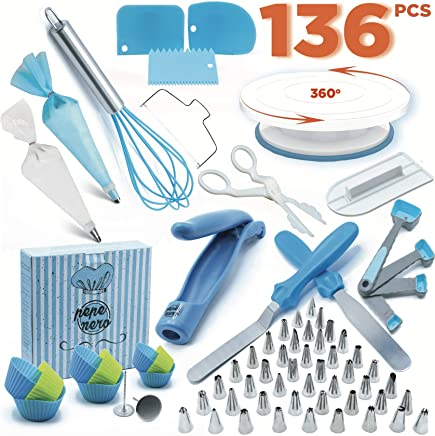 Cake Decorating Supplies Set 116 Pcs by Pepe Nero-Icing Tips, Rotating Turntable, Measuring Spoons, Icing, Tools & for Birthdays,Cookies,Piping, Baking,Frosting, Pastry, Cupcakes, Weddings & More