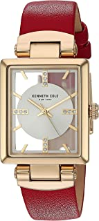 Women's Transparency Stainless Steel Japanese-Quartz Watch with Leather Strap, red, 15.1 (Model: KC50859005)