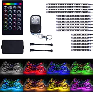 LivTee 16Pcs Motorcycle LED Light Kit Strips Multi-Color Accent Glow Neon Ground Effect Atmosphere Lights Lamp with Wireless Remote Controller for Harley Davidson Honda Kawasaki Suzuki Ducati Polaris