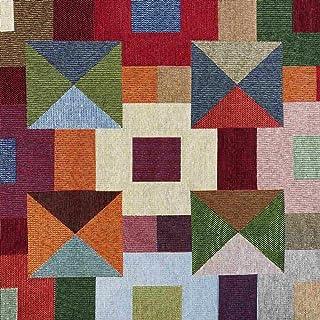 Kt KILOtela Tela de tapicería - Jacquard Gobelino - Retal de 100 cm Largo x 280 cm Ancho   Cuadros - Multicolor ─ 1 Metro