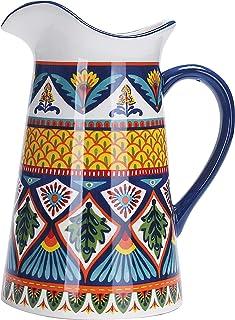 Bico Havana Ceramic 2.5 Quart Pitcher with Handle, Decorative Vase for Flower Arrangements, Dishwasher Safe
