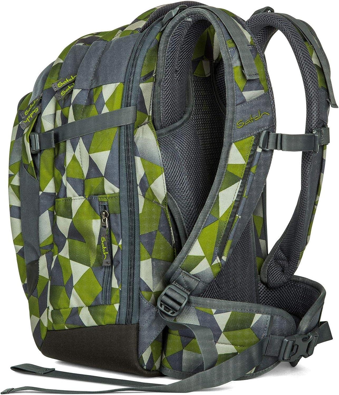 Satch match Schulrucksack - ergonomisch, erweiterbar auf 35 Liter, extra Fronttasche - Green Crush