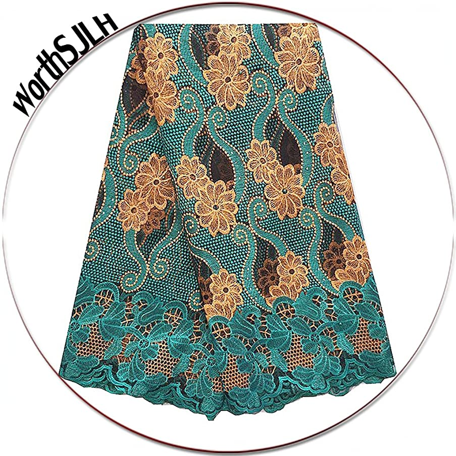 WorthSJLH African French Lace Fabrics 5 Yards Swiss Guipure 2018 Nigerian Lace Fabric with Beads Green African Lace LF854 (Teal Green)