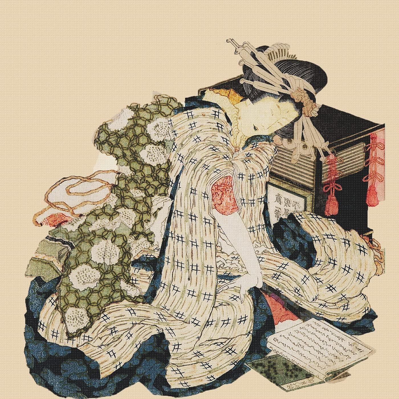 Japanese Hokusai Asian Kimono Woman Fan Counted Cross Stitch Pattern