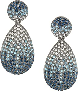 Large 1/2 Teardrop Pave Earrings