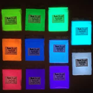 Glow Powder 11 Pack Neutral and Fluorescent Colors Glow Pigment Powder 5.83oz.(165g) Total; for Resin, Slime, Nail Polish, Paints, Coatings, Acrylic Powder; Premium Encapsulated Strontium Aluminate