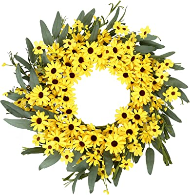 JINGHONG Yellow Spring Sunflower and Daisy Wreath with Yellow Pip Berries and Green Leaves, 22 inches Full Holiday Wreath for Front Door Window Wall Decoration Spring and Holiday Decoration