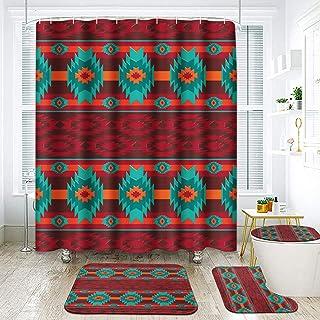 ArtSocket 4 Pcs Shower Curtain Set Southwestern Abstract Colorful Ethnic Geometric Native Retro Vintage with Non-Slip Rugs...