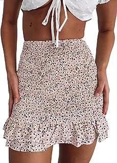 Women Floral Shirred Ruffled Mini Skirt