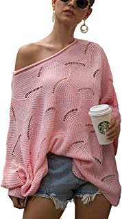 ECOWISH Women Sweater Oversized Lantern Sleeve Jumper Irregular Wave Hem Knitted Pullover Sweaters Casual Loose Tops