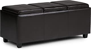 Simpli Home INT-AXCAVA-OTTBNCH-02 Avalon 42 inch Wide Contemporary Rectangle Storage Ottoman in Tanners Brown Faux Leather