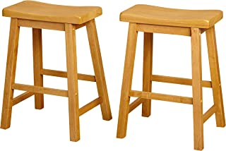 Target Marketing Systems Set of 2 24-Inch Belfast Wooden Saddle Stools, Set of 2, Rustic Oak