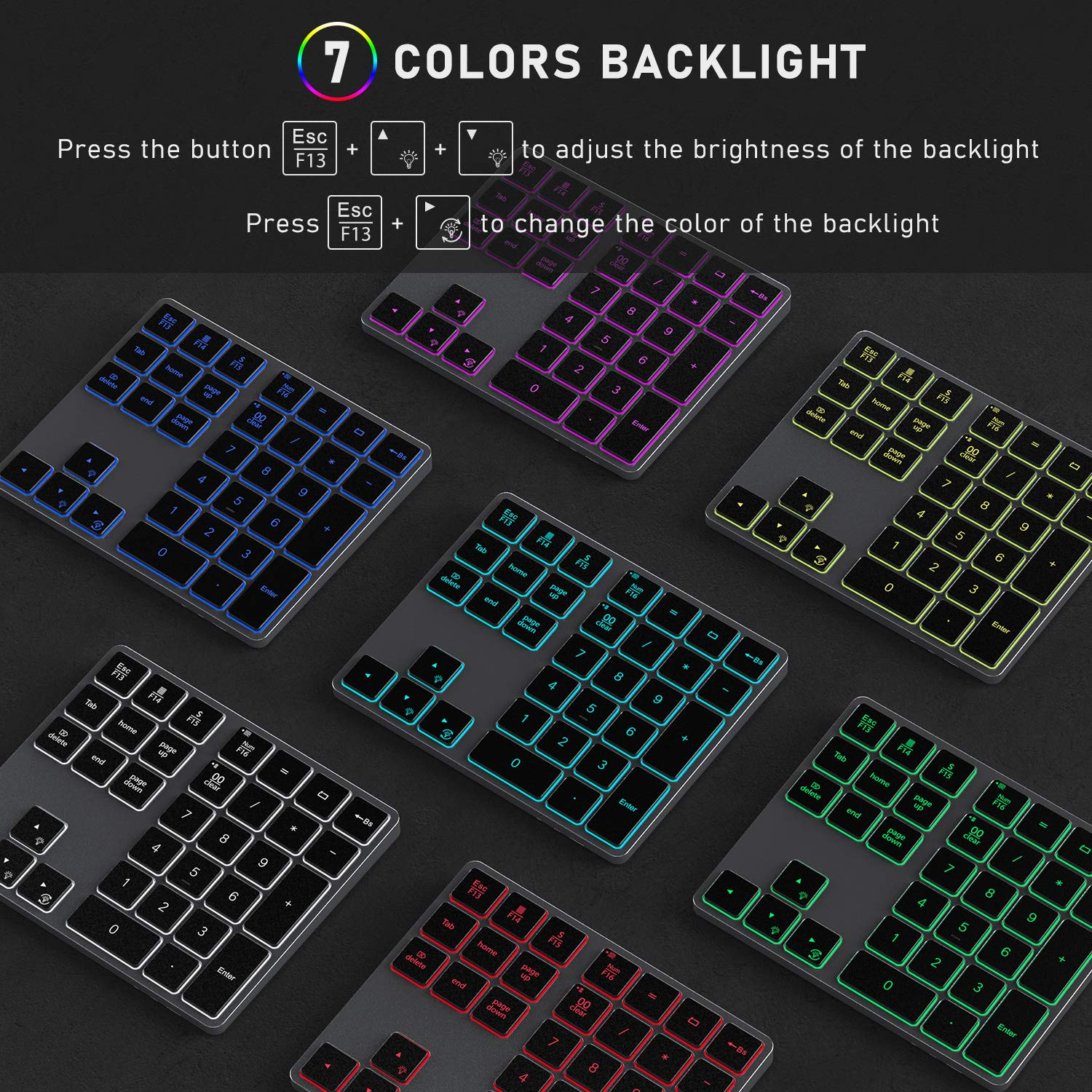 Space Grey USB Wireless Backlit Numeric Keypad Jelly Comb Portable Rechargeable Number Pad with Full 34 Keys for Laptop PC 7 Colors Backlit Computer with Windows System