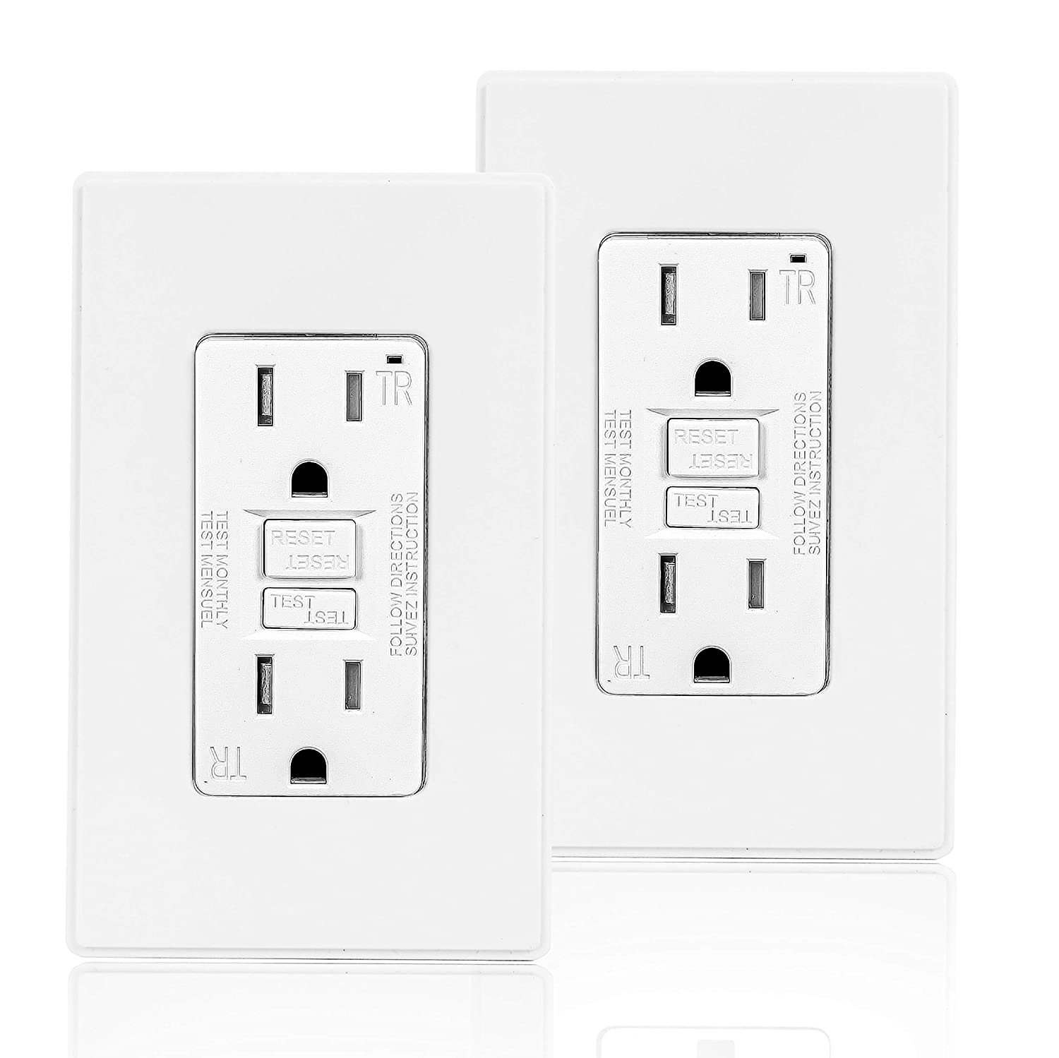 Coby 15 Amp Popular overseas GFCI Easy-to-use Outlet 5-15R Receptacle Design Dual Narrow GFI