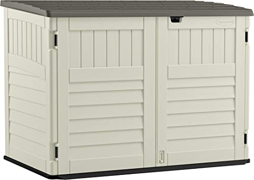 Suncast 5' x 3' Horizontal Stow-Away Storage Shed - Natural Wood-like Outdoor Storage for Trash Cans and Yard Tools -...