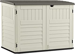 Suncast 5' x 3' Horizontal Stow-Away Storage Shed - Natural Wood-like Outdoor Storage for Trash Cans and Yard Tools - All-...
