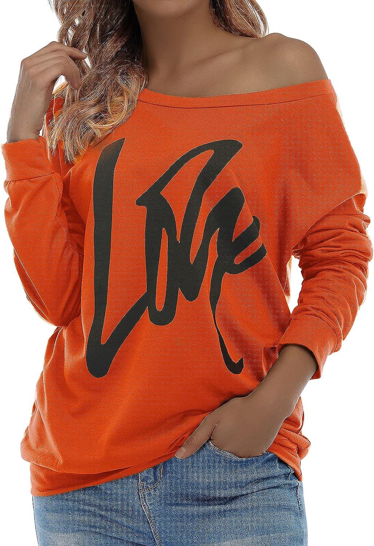 Century Star Women Long Sleeve Sweatshirts Off the Shoulder Sweatshirt Oversized letter Print Pullover Casual Shirt Tops