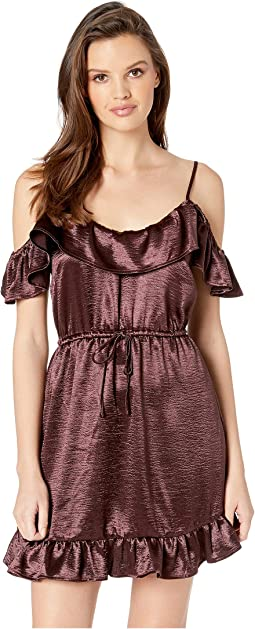 Got To Be Real Textured Satin Ruffle Off Shoulder Dress