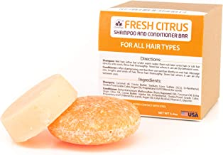 Fresh Citrus Shampoo and Conditioner Bar Combo Set, Natural Solid Bar for All Hair Vegan Made in USA