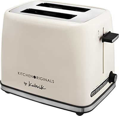 Team Kalorik 2-Slice Toaster, Toasting Only on Outsides, with 1-Slice Function, Built-in Crumb Tray, 1200W, White, TKG to 1014 KTO
