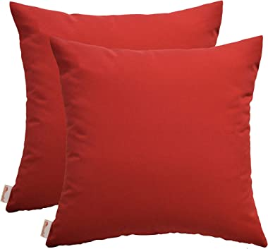 """RSH Décor Set of 2 Indoor Outdoor Decorative Square Throw Pillows Weather Resistant Made of Sunbrella Canvas Jockey Red (20"""""""