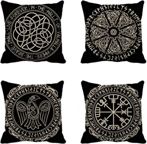 rouihot Set of 4 Throw Pillow Covers Nordic Ancient Scandinavian Shield Viking Magical and Runes White Black Emblem 18x18 Inch Home Decor Pillowcases Square Pillow Cases Cushion Covers for Sofa