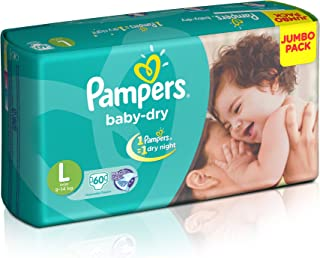 Pampers Baby Dry Diaper Pants, Large (60 Count)