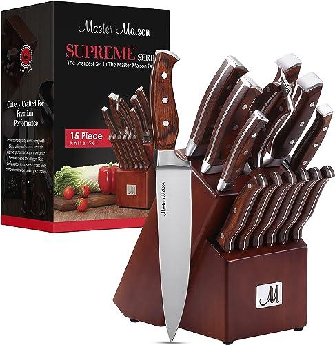 popular 15-Piece Premium Kitchen Knife Set With Wooden Block   Master Maison German popular Stainless Steel Cutlery With Knife Sharpener & 6 Steak Knives popular (Walnut) online sale