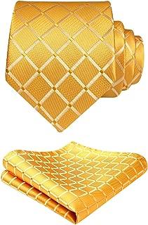 HISDERN Plaid Tie Handkerchief Woven Classic Stripe Men's Necktie & Pocket Square Set