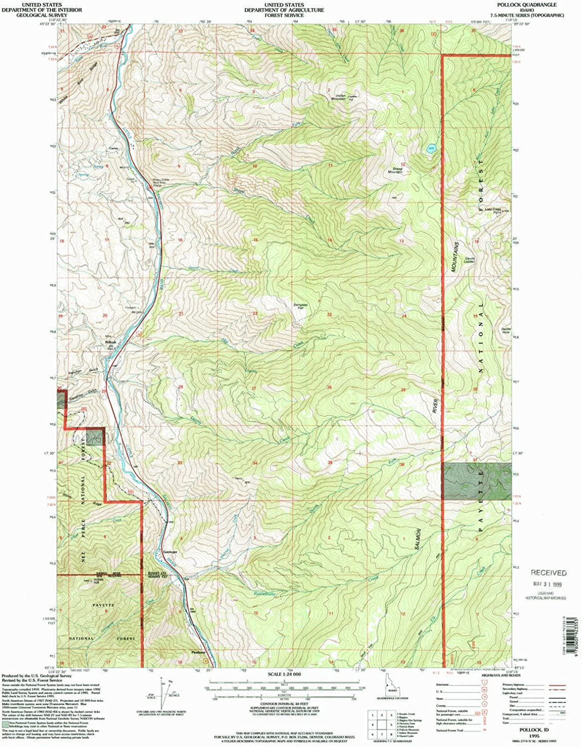 Pollock ID topo map, 1 24000 Scale, 7.5 X 7.5 Minute, Historical, 1995, Updated 1999, 26.7 x 22 in