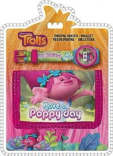 Trolls Have a Poppy Day' Kids - Set di orologi digitali e portamonete, 25 cm, multicolore