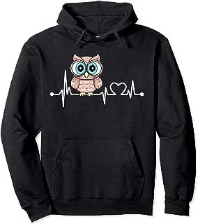 Owl Heartbeat Funny Love Animal Gift For Kid/Women/Men Pullover Hoodie