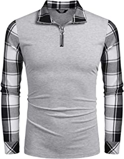 Men's Long Sleeve Polo Shirts Casual Slim Fit Zipper Plaid Polo T Shirts