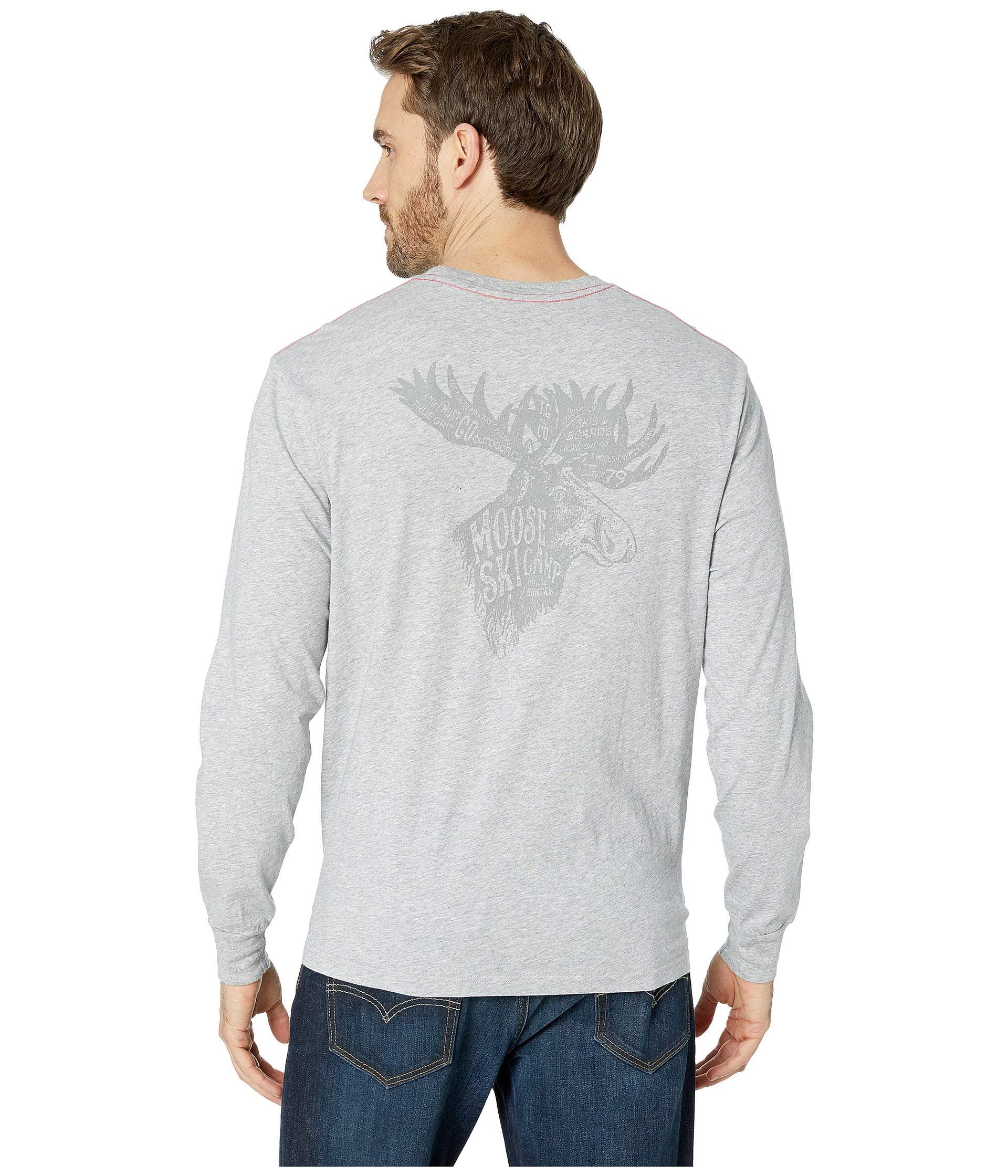 Heather Grey Moose True Print Tee Screen Grit Long Ski Sleeve Camp Vintage wqwvRCFxa