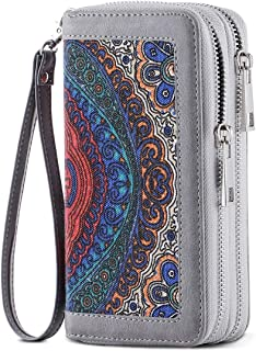 XHHWZB Canvas Printed Double Zipper Long Wallet Multifunctional Large Capacity Mobile Wallet