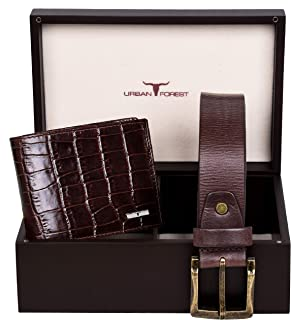 Urban Forest Drew Brown RFID Blocking Croco Print Leather Wallet & Casual Brown Leather Belt Combo Gift Set for Men - Packed in Premium Wooden Box for Festive Gifting…