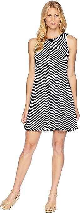 Three Dots Desert Stripe A-Line Tank Dress w/ Tie-Back