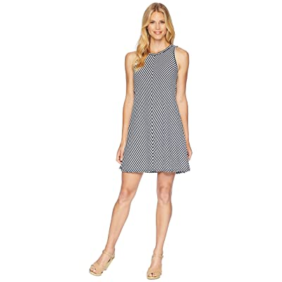 Three Dots Desert Stripe A-Line Tank Dress w/ Tie-Back (Night Iris) Women