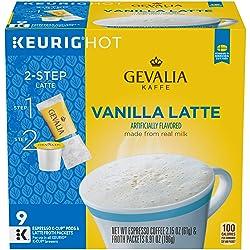 Gevalia Vanilla Latte Keurig K Cup Coffee Pods & Froth Packets (9 Count)