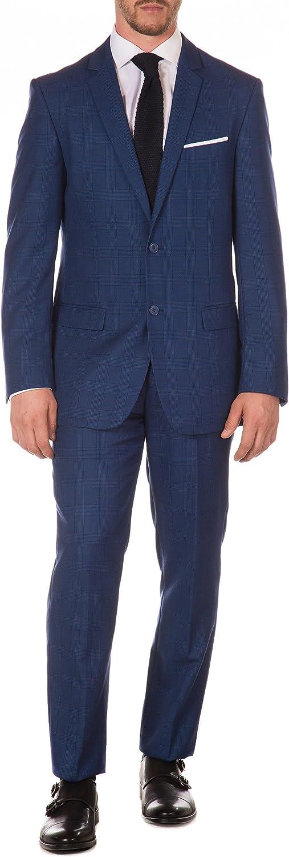 Ferrecci shipfree Men's Store Morgan Blue Plaid Slim Fit 2pc Suit