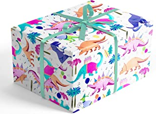 Party Dinosaurs Children's Premium Folded Wrapping Paper, 2 feet x 10 feet Jurassic Dinosaur Birthday Folded Gift wrap, Revel™