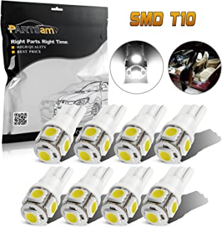 Partsam T10 LED Light Bulbs 194 168 175 2825 Lights for Car Interior Dome Map Door Courtesy Light-White(8Pcs)