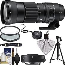 Sigma 150-600mm f/5.0-6.3 Contemporary DG OS HSM Lens & 1.4X Teleconverter with USB Dock + Pistol Grip Tripod + 2 Filters + Kit for Nikon DSLR Cameras