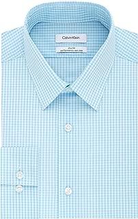 Men's Dress Shirt Non Iron Stretch Slim Fit Point Collar Check