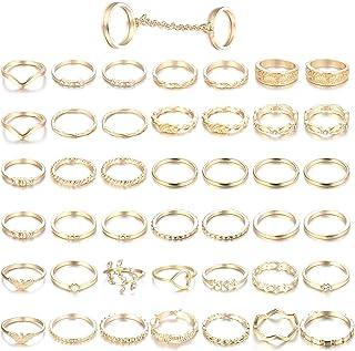 Adramata 43PCS Anelli Knuckle per Donna Anelli impilabili per Dito Medio Set Tono Oro