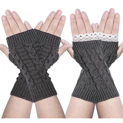 f0aa08290 2 Pairs Women Winter Warm Knit Fingerless Gloves Hand Crochet Thumbhole Arm  Warmers Mittens